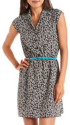 Charlotte Russe Belted Ditsy Floral Shirt Dress