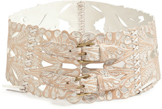 Ralph Lauren Tooled Leather Belt in White Wash