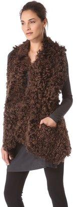 Donna Karan Reversible Draped Long Vest