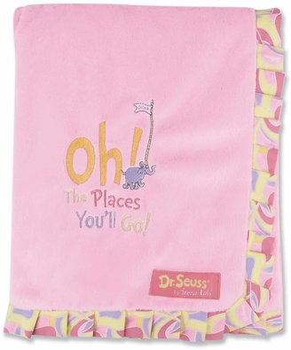 """Trend Lab Dr. Seuss """"Oh The Places You'll Go!"""" Ruffled Velour Receiving Blanket by Pink"""