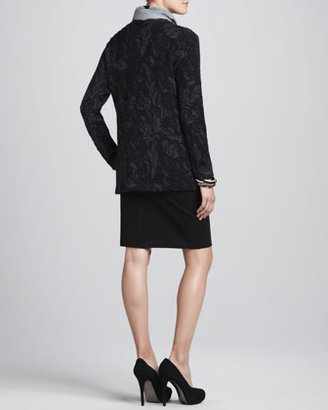 Eileen Fisher Washable Wool Floral Jacquard Cardigan