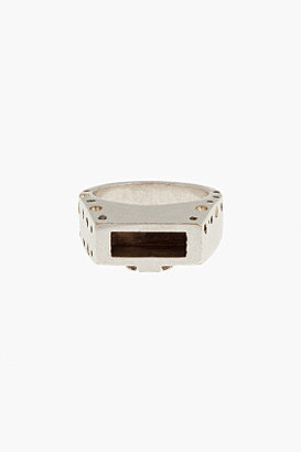 Maison Martin Margiela Silver perforated open compartment Ring