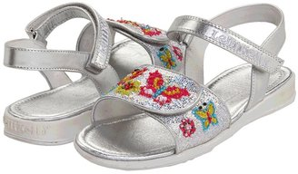 Lelli Kelly Kids Glitter Butterfly 1 (Toddler/Youth) (Silver Glitter) - Footwear