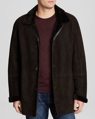 Maximilian Dyed Lamb Shearling Coat with Leather Trim $2,995 thestylecure.com