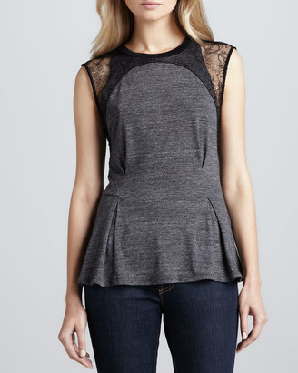 Rebecca Taylor Peplum Tee with Lace Detail