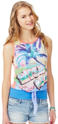 Aeropostale Postcard From Paradise Tie-Front Tank