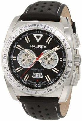 Haurex Italy Men's 9A346UNS MPH Chronograph Tachymeter Bezel Leather Watch