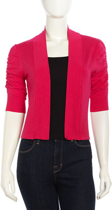 Neiman Marcus Cozy Ruched Woven Open-Front Cardigan, Hot Pink