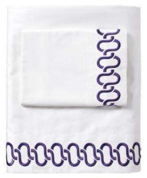Royal Purple Savoy Links Embroidered Sheet Set