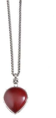 Lucky Brand Silver-Tone Necklace with Coral Teardrop Pendant