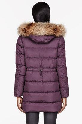 Moncler Plum Purple down & Fur Fragon parka
