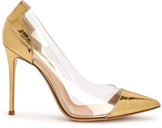 Gianvito Rossi 105 Gold Leather And Perspex Pumps
