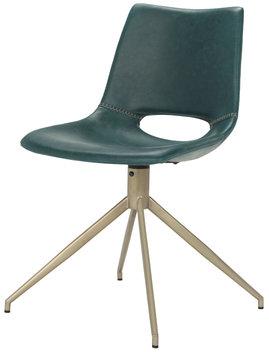 Danube Mid-Century Modern Leather Swivel Dining Chair