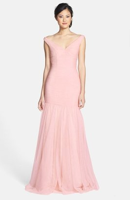 Women's Monique Lhuillier Bridesmaids V-Neck Shirred Tulle Trumpet Dress $398 thestylecure.com