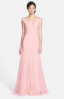Women's Monique Lhuillier Bridesmaids V-Neck Shirred Tulle Trumpet Dress $398 thestylecure.com