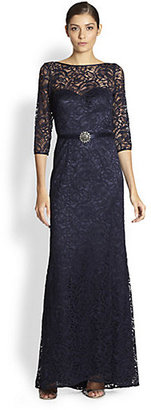 Theia Belted Lace Gown