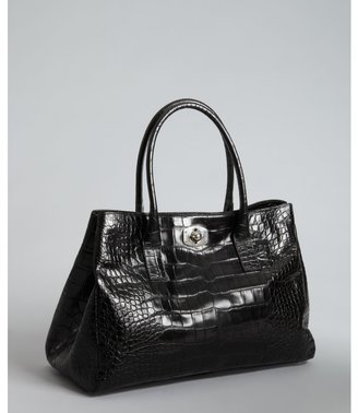 Furla black croc embossed leather 'New Appaloosa' shopper tote