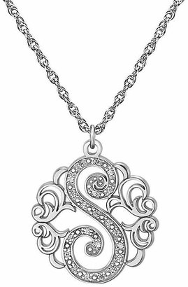 FINE JEWELRY Personalized Diamond-Accent Sterling Silver Single Initial Pendant Necklace