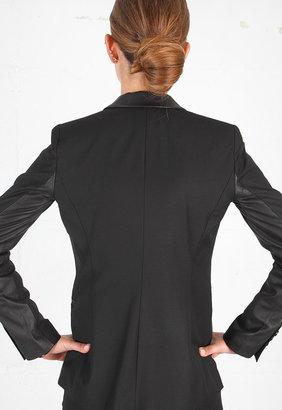 Elizabeth and James Leather Trimmed Rex Blazer in Black/Black -