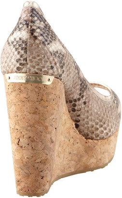 Jimmy Choo Papina Snake-Print Cork Wedge, Desert