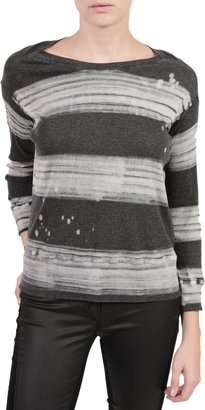 Raquel Allegra Rib Drop Shoulder Tee - Painter Stripe Black