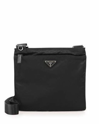 Prada Vela Flat Crossbody Bag, Black (Nero) $590 thestylecure.com