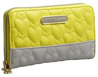 Betsey Johnson yellow and grey heart quilted leather 'Be My One and Only' zip around wallet