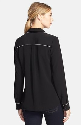 Halogen Piped Long Sleeve Blouse