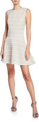 Josie Natori Textured Geometric Jacquard Sleeveless Fit-and-Flare Dress