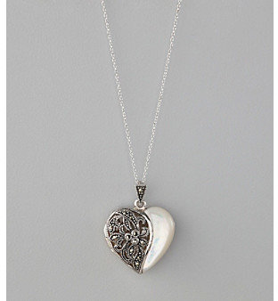 Designs by FMC Sterling Silver Plated Marcasite and Mother of Pearl Heart Locket Boxed Pendant Necklace