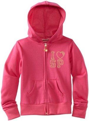 Southpole Big Girls' Fashion Full-Zip Hoodie Sweatshirt With Animal Heart Sequins