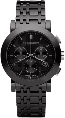 Burberry Watch, Men's Chronograph Black Ceramic Check Bracelet 40mm BU1771