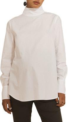 Tellus Mater Maternity Thea High-Neck Tailored Pima Cotton Shirt