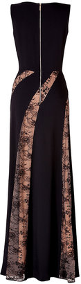 Elie Saab Lace Panel Gown in Black