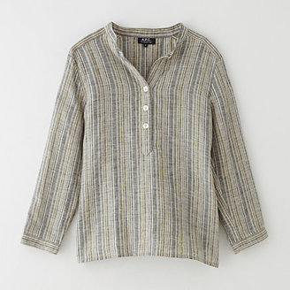 A.P.C. gina striped linen blouse