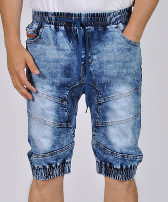 Blue Denim Washed Detail Elastic Shorts - Men's Regular