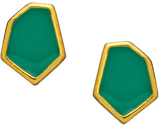 Janna Conner Designs Gold and Emerald Enamel Aliza Stud Earrings