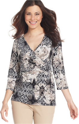 Style&Co. Top, Three-Quarter-Sleeve Surplice Snake-Print