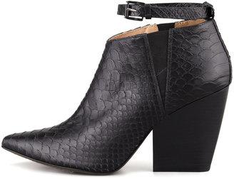 Rebecca Minkoff La Roux Snake-Print Ankle-Wrap Bootie