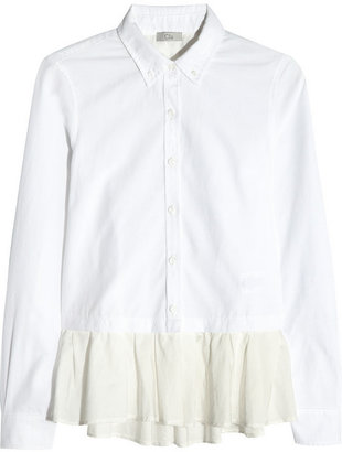 Clu Ruffle-trimmed cotton shirt