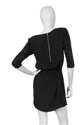 Gold Hawk Beaded Dress in Black -