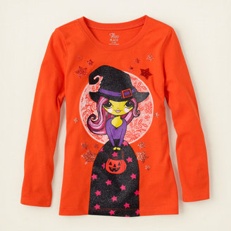 Children's Place Halloween witch girl graphic tee