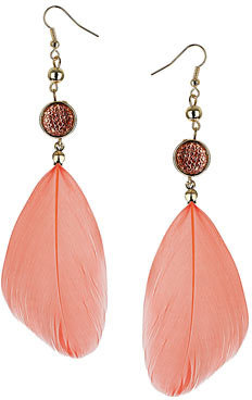 Dorothy Perkins Coral feather and bead earring