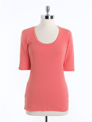 Lord & Taylor Scoopneck Cotton Shirt