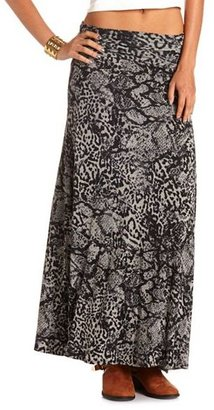 Charlotte Russe Ruched Waist Animal Maxi Skirt