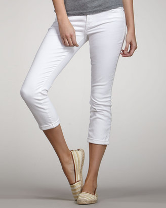 7 For All Mankind The Skinny Crop & Roll Clean White Jeans
