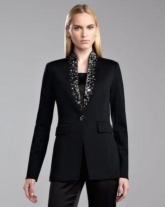 St. John Milano Knit Stand Collar Jacket, Caviar