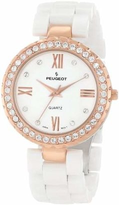 Peugeot Women's 7078wrg Ceramic Swarovski Crystal Rose Gold Tone Bezel Watch