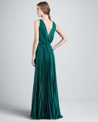 Halston Pleated Sleeveless Gown