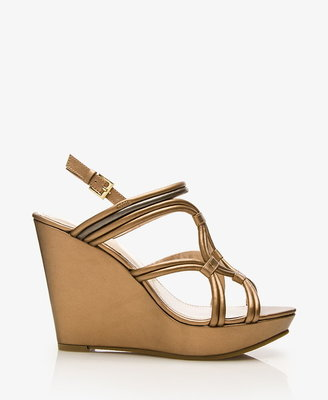 Forever 21 Metallic Faux Leather Wedge Sandals